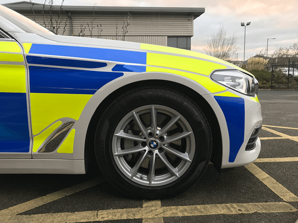 BMW Police Car ESV Reflective Livery Front View Close Up