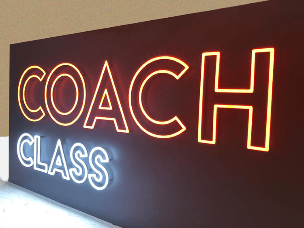 Faux Neon Sign at Coach Gym