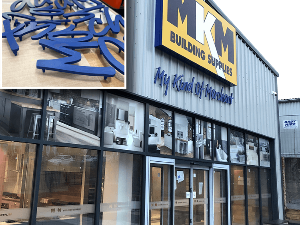 MKM Signs stencil cut letters and flex face