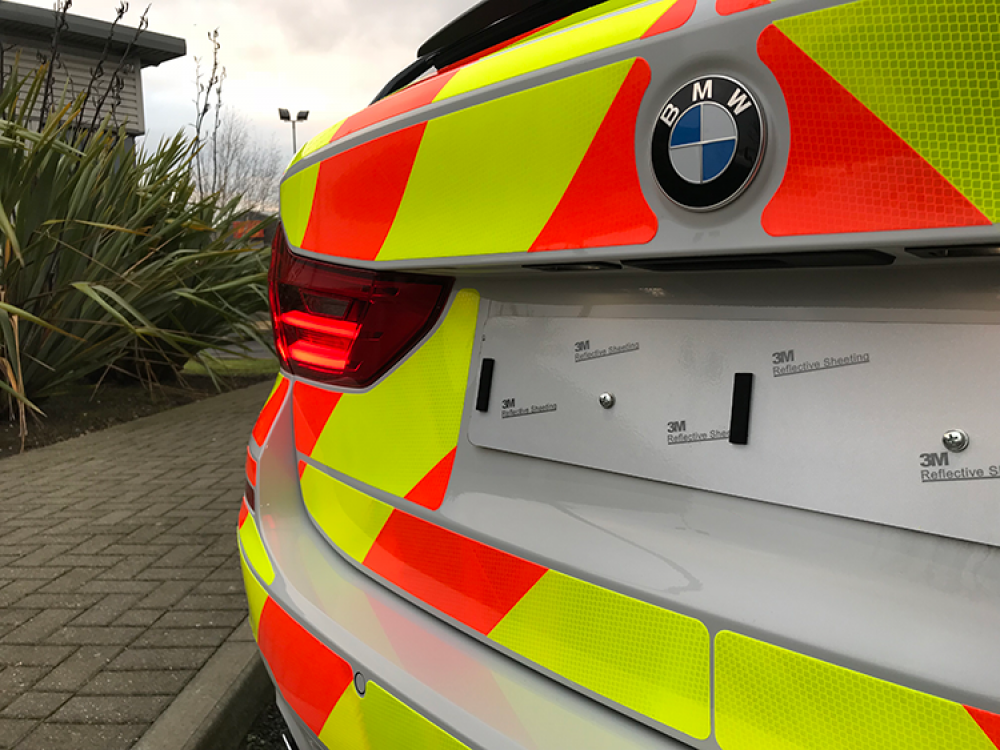 BMW Police Car ESV Reflective Livery Rear View Close Up