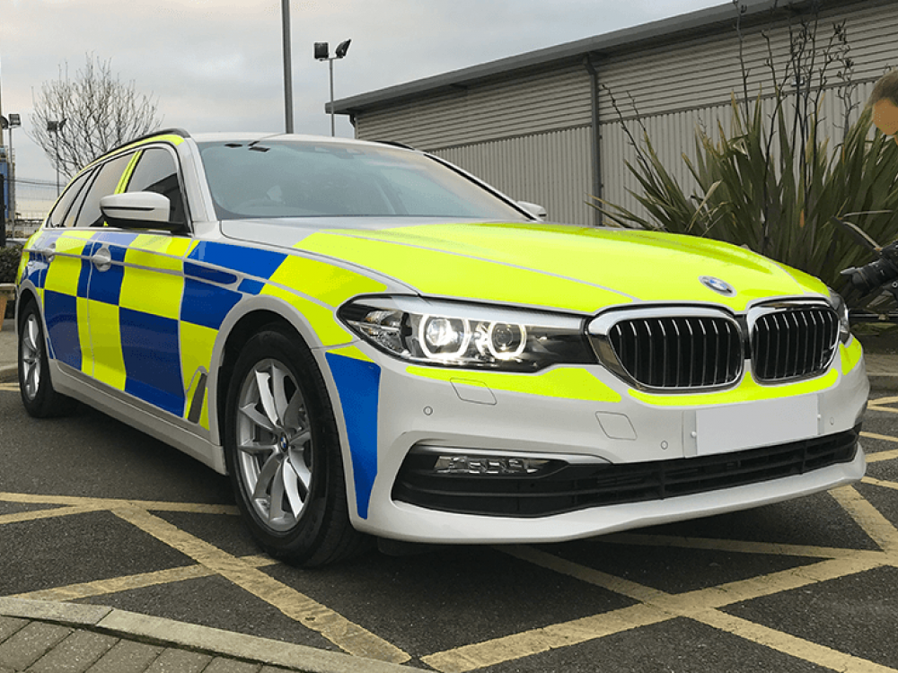 BMW Police Car ESV Reflective Livery Front View